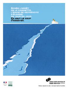 """""""Après l'arrêt de la cigarette, l'envie de reprendre s'éloigne"""". Campagne INPES 2008"""