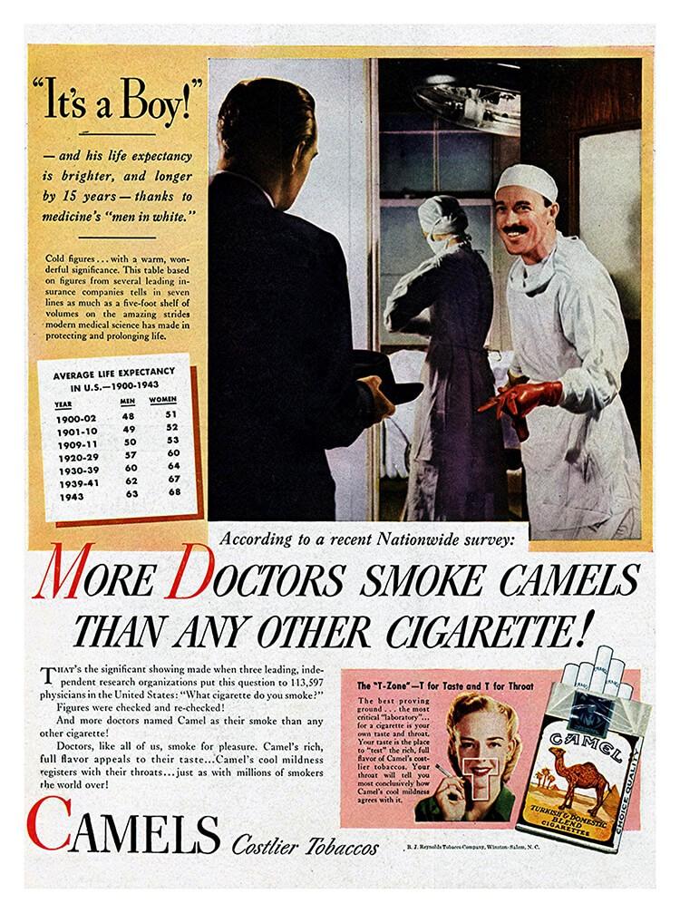 vieille pub camel - la majorité des médecins fument des camels
